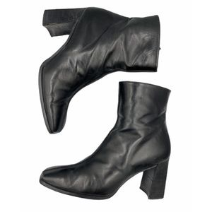 Stuart Weitzman lamb skin leather ankle boot.